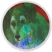 Round Beach Towel featuring the painting Green Collie by Donald J Ryker III