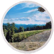 Round Beach Towel featuring the painting Green Country by Joshua Martin