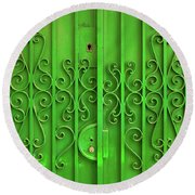 Round Beach Towel featuring the photograph Green Door by Carlos Caetano