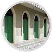 Green Doors Round Beach Towel