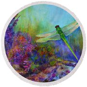 Green Dragonfly Round Beach Towel by Claire Bull