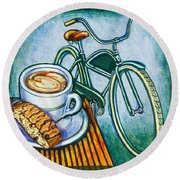 Green Electra Delivery Bicycle Coffee And Biscotti Round Beach Towel by Mark Jones