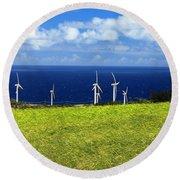 Green Energy Round Beach Towel