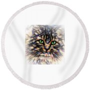 Green Eye Kitty Square Round Beach Towel by Terry DeLuco