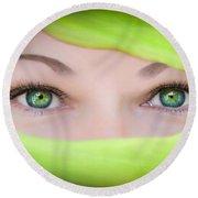 Green-eyed Girl Round Beach Towel