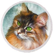 Green-eyed Maine Coon Cat - Remastered Round Beach Towel