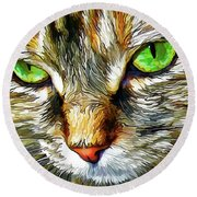 Zen Cat Round Beach Towel