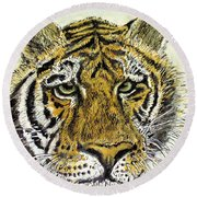 Round Beach Towel featuring the painting Green Eyed Tiger by Laurie Rohner