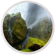 Round Beach Towel featuring the photograph Green Falls by Raymond Earley
