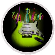Round Beach Towel featuring the photograph Green Fender Stratocaster  by Guitar Wacky