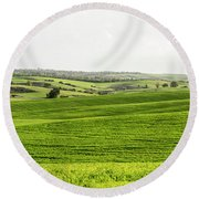 Green Fields. Round Beach Towel