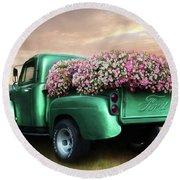Green Flower Truck Round Beach Towel by Lori Deiter