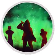 Green Fog And Stars Round Beach Towel