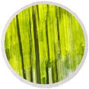 Green Forest Abstract Round Beach Towel by Elena Elisseeva