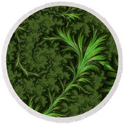 Green Fronds Round Beach Towel