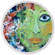 Green Garden Goddess Round Beach Towel by Lisa Kaiser