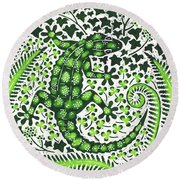 Green Gecko Round Beach Towel