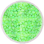 Green Giraffe Print Round Beach Towel