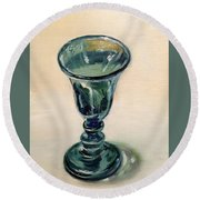Green Glass Goblet Round Beach Towel