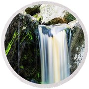 Green Glows On The Falls Round Beach Towel