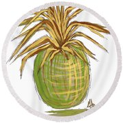 Green Gold Pineapple Painting Illustration Aroon Melane 2015 Collection By Madart Round Beach Towel by Megan Duncanson