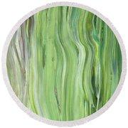 Green Gray Organic Abstract Art For Interior Decor II Round Beach Towel