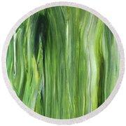 Green Gray Organic Abstract Art For Interior Decor IIi Round Beach Towel