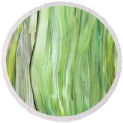 Green Gray Organic Abstract Art For Interior Decor Vi Round Beach Towel