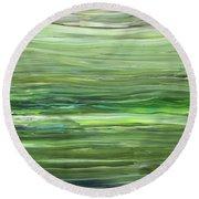 Green Gray Organic Abstract Art For Interior Decor Vii Round Beach Towel