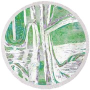 Green-grey Misty Morning River Tree Round Beach Towel
