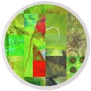 Round Beach Towel featuring the digital art Green Grid by Nancy Merkle