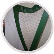Green Harp Round Beach Towel