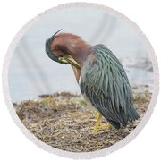 Green Heron 1337 Round Beach Towel