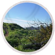Round Beach Towel featuring the photograph Green Hills And Bushes Landscape by Matt Harang