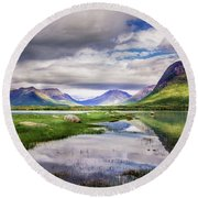 Green Hills Of Vesteralen Round Beach Towel