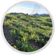 Round Beach Towel featuring the photograph Green Hills Purple Flowers - Rocky View by Matt Harang