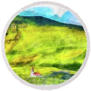 Green Iceland Aquarell Painting Vik Church And Green Hills Round Beach Towel
