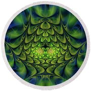 Round Beach Towel featuring the digital art Green Island by Jutta Maria Pusl
