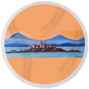 Round Beach Towel featuring the painting Green Island Lighthouse by Yulia Kazansky