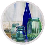 Round Beach Towel featuring the painting Green Jars Still Life by Marilyn Smith