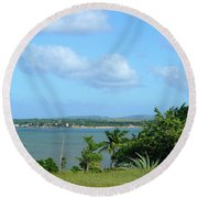Green Landscape And Sky Round Beach Towel