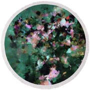 Round Beach Towel featuring the painting Green Landscape Painting In Minimalist And Abstract Style by Ayse Deniz