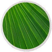 Green Leaf Background Round Beach Towel