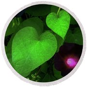 Green Leaf Violet Glow Round Beach Towel