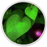Green Leaf Violet Glow Round Beach Towel