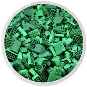 Green Lego Abstract Round Beach Towel