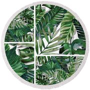 Green Life Round Beach Towel
