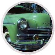 American Limousine 1957 - Historic Car Photo Round Beach Towel