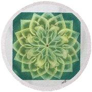 Green Lotus  Round Beach Towel
