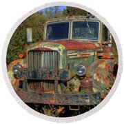Green Mack Truck Round Beach Towel